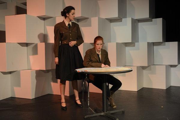 Elizabeth (right) as MacDuff in Shakespeare's MacBeth