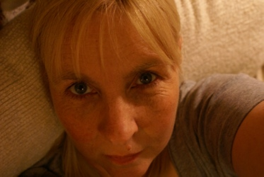 Jeny Gilbert - self portrait with soft furnishings.