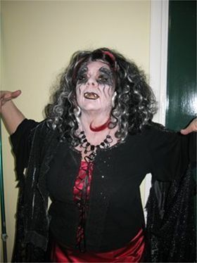 Cheryl as evil 'Granula' in panto