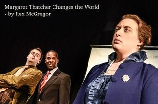 Conor Cook (Les), Robert Anthony (Tomas) & Yvette Bruin (Margaret) in Margaret Thatcher Changes the World, British Theatre Challenge, Sky Blue Theatre Company, Lost Theatre, London, October 23, 2015